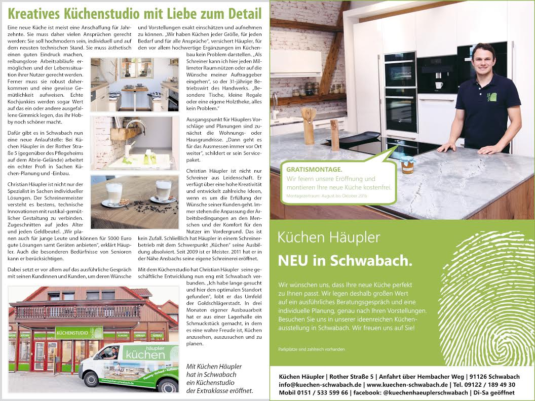 zeitungsartikel zur k chenstudio neuer ffnung in schwabach ihr k chenstudio in schwabach. Black Bedroom Furniture Sets. Home Design Ideas