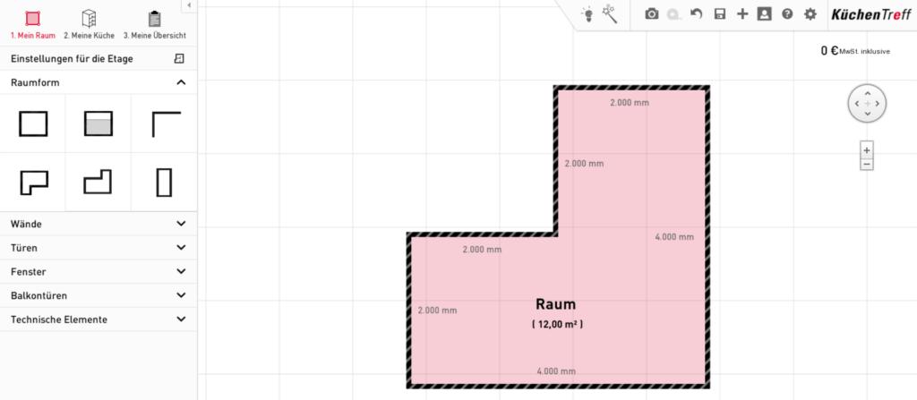 Küche online planen: Raumplanung
