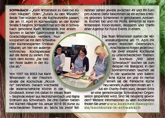 Kochevents in Schwabach mit Karin Wittenstein